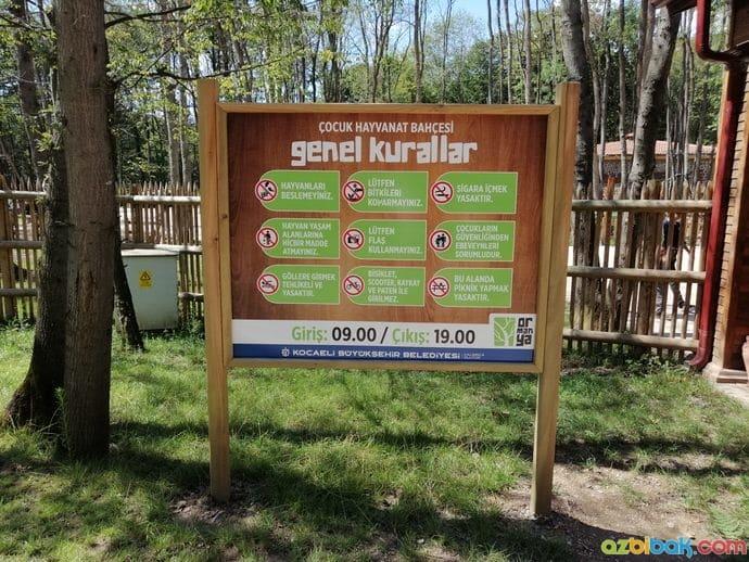 Ormanya Hayvanat Bahçesi Genel Kurallar Tabelası